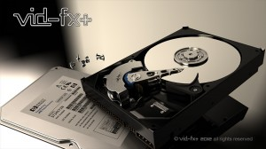 3D-CGI Hard Drive Technical illustration.